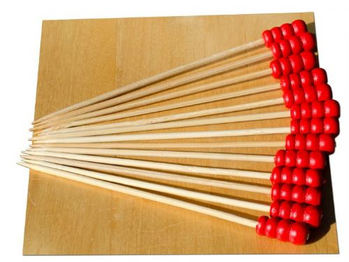 Red Abacus bead wood skewer 12cm x100 - GOTO